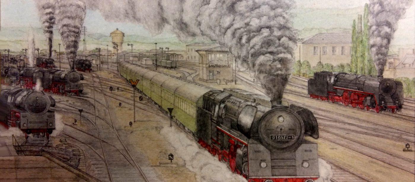 Prof. Fritz Zeichnung Saalfeld 20171010 165752b2Kontrast 1400x615 - Plandampf bei der Deutschen Reichsbahn